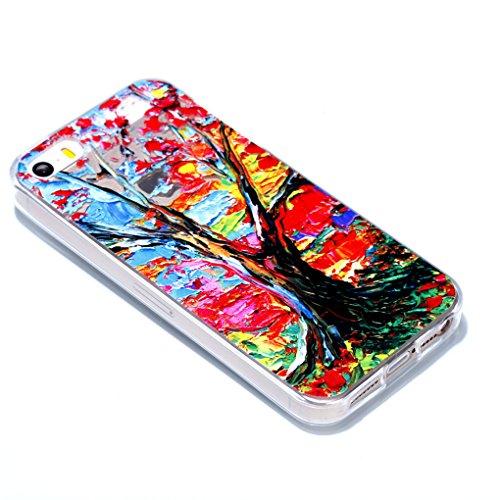 iPhone SE 5 5S Hülle, SATURCASE Schönes Muster Bas-relief Ultra Dünn Weich TPU Gel Silikon Schützend Zurück Case Cover Handy Tasche Schutzhülle Handyhülle Hülle für for Apple iPhone SE 5 5S (Muster-8) Muster-3