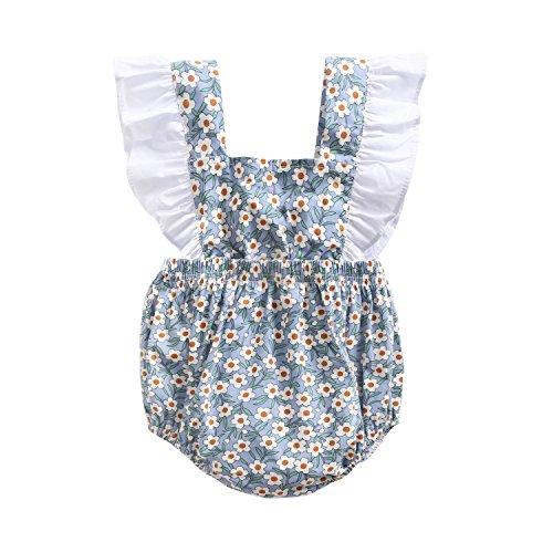 Sanlutoz Neugeborenes Baby Mädchen Baumwolle Blumen Gedruckt Niedlich Sommer Body Spielanzug Jumpsuit (2-3 Jahre, BRS8042)