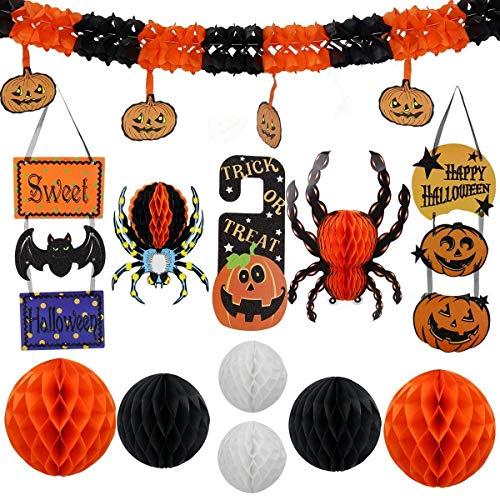 lujiaoshout 12st Halloween Partydekoration Set bestehend aus Honeycomb 3D Wand Spinne und Trick or Treat Tür Verzierungen für Halloween-Dekor