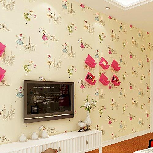 MDDW-Vliestapete Kinder Zimmer Schlafzimmer Cartoon Hintergrundbilder schöne warme rosa Ballett Mädchen , elegant yellow