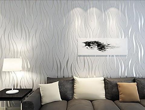 Moderne Style minimaliste Algues Plante Motif en relief papier peint?33'(10m), rouleau complet - gris argenté