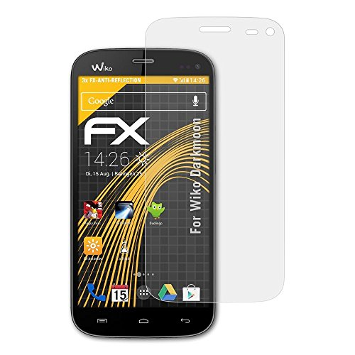 atFolix Panzerfolie kompatibel mit Wiko Darkmoon Schutzfolie, entspiegelnde & stoßdämpfende FX Folie (3X)