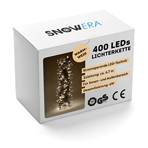 SnowEra - Guirlande lumineuse/Guirlande de Noël Galaxy 400 LED pour Intérieur & Extérieur avec Minuteur et Gradateur – Couleur LED: Blanc chaud