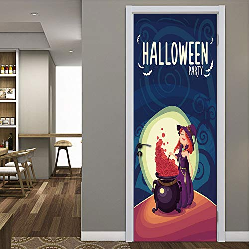 fenjinsheng Mond Cartoon Hexe Halloween Kinderzimmer Flur Wand-Dekor Aufkleber Türaufkleber Glasfenster Aufkleber Schiebetür Bad Kunst