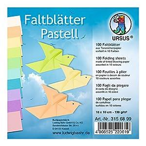 Ursus 3156899Plegable Hojas Colores Pastel, 10x 10cm, 100Hojas Surtidos en 10Colores