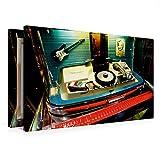 Calvendo Premium Textil-Leinwand 75 x 50 cm Quer-Format Wurlitzer Jukebox Schallplatten | Wandbild, HD-Bild auf Keilrahmen, Fertigbild auf Hochwertigem Vlies, Leinwanddruck von Uli Landherr
