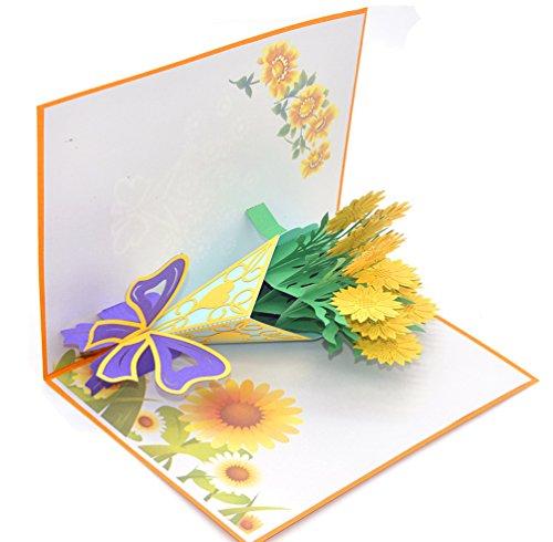 medigy 3D Pop up Grußkarte Congratulations ein Bouquet aus Golden Sonnenblumen für die meisten occastions (Halloween-gruß-karten Zu Drucken)