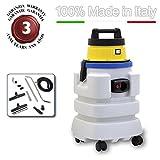 EOLO ASPIRATORE ASPIRALIQUIDI ASPIRAPOLVERI ASPIRASOLIDI CON FUSTO ANTIACIDO completo di accessori LP28 (37 litri) MADE IN ITALY