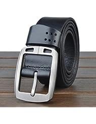 """HOMBRES cinturones estilo Retro cuero cuero de grano completo 100% correa de cuero para los hombres con un puncher de agujero del cinturón bono Metal ancho de 1,4"""" todos tamaños Ideal de Navidad para hombres lp2013021 , black"""