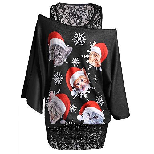 c07a7a69fb03c pitashe Noël Pull Femme Ugly Christmas ImprimÉEs Grande Taille Lace  Patchwork De Manche Longue Cou Slash