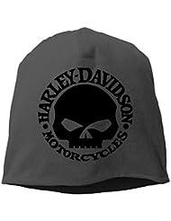 Hittings M Harley Davidson Logo Skull Unisex Skull Cap Warm Hat One Size Black