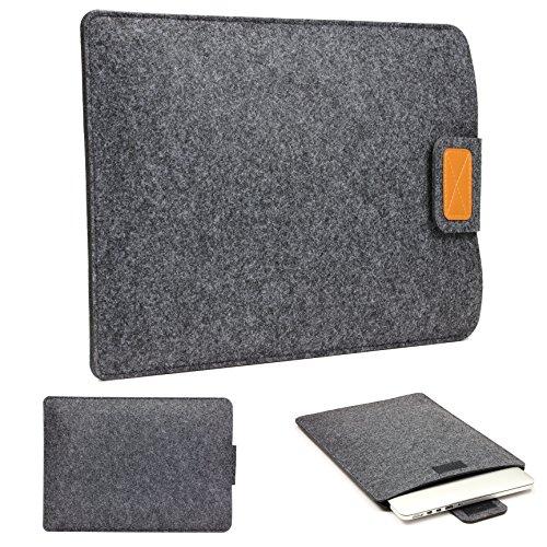 Urcover 15 Zoll (48 cm) Filz Laptop Tasche und Tablet Hülle passend für Ihr iPad, Lenovo Tablet, Samsung Tab, Netbook und viele weitere Mobile Endgeräte Dunkel Grau