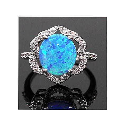 LOVE STUDIO,Bijoux Nouveau design Superbe anneau 18K en or blanc 3A Zircon cubique Bague symétrique symétrique à dessin simple (Blue, Ring Size 6)