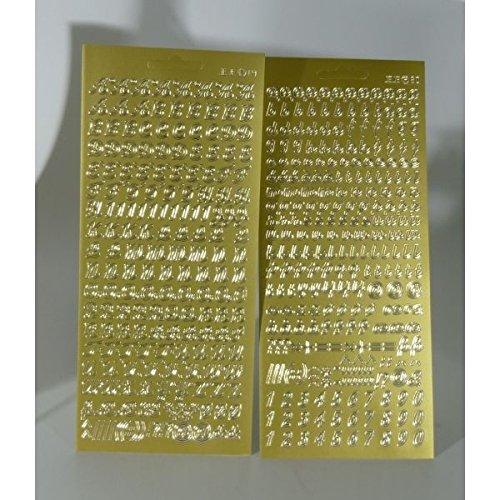 Sticker Buchstaben-Set, goldfarbig - Groß- und Kleinbuchstaben mit Zahlen - 9698 - zum Beschriften von Kerzen