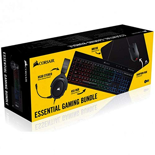Corsair - Essential Wired Gaming Bundle (K55 Wired Gaming Membrane Keyboard/HS50 Gaming Headset/Harpoon RGB Gaming Mouse/MM100 Tuch Gaming Mauspad) (erneuert