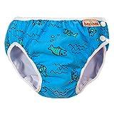 ImseVimse Schwimmwindeln für Jungen, Aquawindel, Badewindelhose Seepferd, wasserblaue Fische, Gr. SL 13-17kg