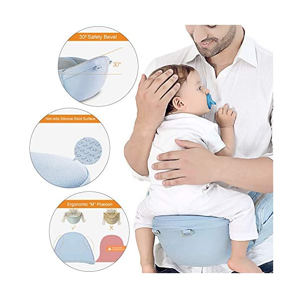 Azeekoom Baby Carrier, Ergonomic Hip Seat, Baby Carrier Sling with Fixing Strap, Bibs, Shoulder Strap, Head Hood for Newborn to Toddler from 0-36 Month (Light Blue)  【More Ergonomic】 - Baby carrier for newborn has an enlarged arc stool to better support the baby's thighs, the M design that allows the knees to be higher than the buttocks when your baby sits, is more ergonomic.The silicone granules on the stool provide a high-quality anti-slip effect that prevents the baby from slipping off the stool. 【Various Methods of Carrying】- There are 5 combinations of ergonomic baby carrier and a variety of ways to wear them.Hip Seat/Fixing Strap + Hip Seat/Shoulder Strap + Hip Seat/Strap + Hip Seat/Strap, 5 combinations to meet your needs.Fixing Strap frees your hands and prevent your baby from falling over the stool.The shoulder straps reduce the burden on your waist and make you more comfortable. 【More Comfortable】 - The baby carrier is made of high quality cotton fabric with 3D breathable mesh for comfort and coolness. The detachable sunshade provides warmth in winter and fresh in summer. The detachable cotton slobber allows you to Easy to change. At the same time, the zip closure is designed for easy removal and cleaning. 3