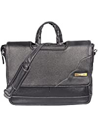 Handcuffs 16 Inch Black Colour Genuine Leather Office Laptop Bag For Men