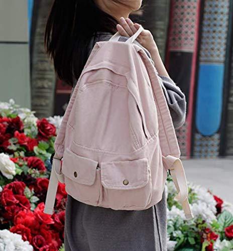 Fsweeth Frische kleine Double Shoulder Bag Female einfache Kunst Harajuku Wind 2-Pocket Jeans travel College Student kleine Beutel, 31 * 36 * 12 cm, Light Pink -
