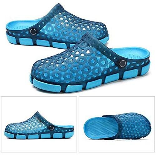 Eastlion Herren Gelee Hohl Atmungsaktive Sandalen Massage Bottom Half Slippers Sommer Beil盲ufig Loch Schuhe Stil 1 Blau