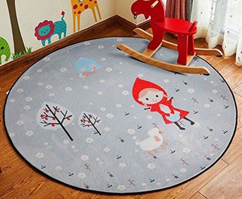 Runde Kinderzimmer Teppich, große Anti-Rutsch-Cartoon Tier Kinder Stock Spiel Spiel Matte für Kinderzimmer (Farbe : C, größe : 120CM) ()