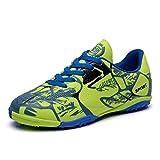 Hombres Botas de Fútbol Zapatos de Deportivas Turf Hard Ground Chicos Shoes Plano Zapatillas para Caminar Verde 37