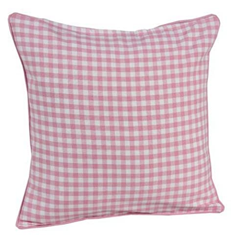 Homescapes - 100% Cotton - Gingham Check - Filled Cushion - 45 x 45 cm Square - 18 x 18 Inches - Pink White - 100% Cotton - Cover Well Filled Pad - Washable
