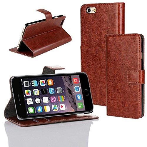 Hülle f Apple iPhone 6 Tasche Schutzhülle Cover Flip Case Handy Schutzcase Etui, Farben:Braun Braun
