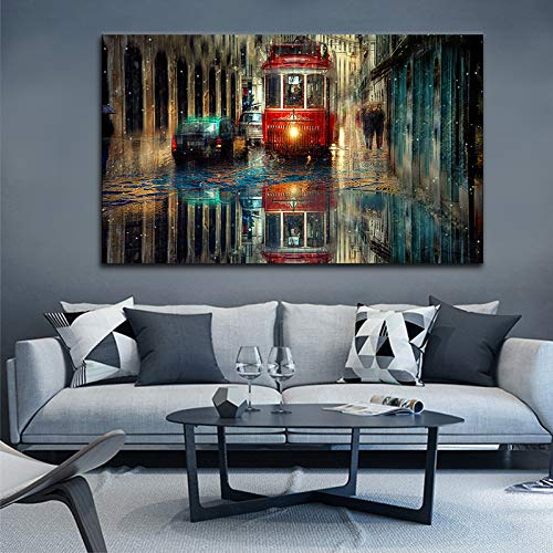Leinwandbild Bild New York City Nacht Leinwand Wanddekoration Abstraktes Ölgemälde Dekoration Landschaft Kunstdruck (Ohne Rahmen) A5 50x85CM
