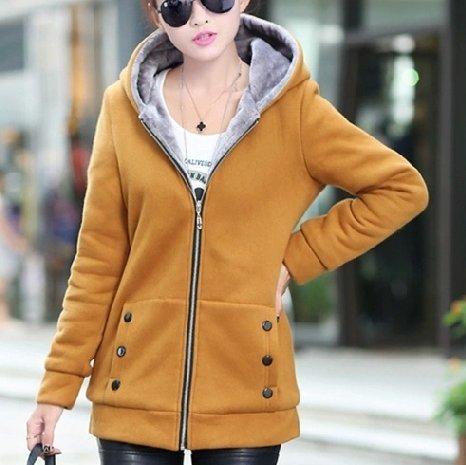 Xing Lin Felpa Con Cappuccio Per Esterno Caldo Cappotto Donna Cappotto Di Lana Addensare Giacche Felpa Con Cappuccio Yellow