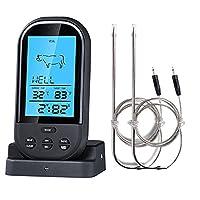 Wireless Barbecue Grill Thermometer ,SGODDE Thermometer mit großem LCD-Display,Zwei Edelstahlsonde, Digital Zeitmesser Grillthermometer,Bratenthermometer,Ofenthermometer mit Timer für BBQ Kochen, Grill, Ofen, Fleisch, Indoor / Outdoor-Grill Schwarz