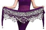 Aivtalk Bufanda de Cadera Mujer con Monedas Plateadas para Danza del Vientre Práctica Disfraz Fiesta - Purple(moneda plateada)