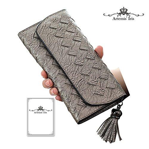 Artemis'Iris multifunzione Cards Holder denaro frizione a mano tessuto di cuoio sintetico di borsa Portafoglio Con Porta Carte staccabile, verde grey