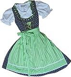 traditionelles Kinderdirndl WALLY dunkelblau Streublümchen 3tlg. Komplett-Set in 2 Farbvarianten, Farben:navy/apfel;Größen:98