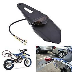 KaTur Schutzblech mit rotem LED-Bremslicht, für hinten, mit Halterung, für Offroad-Motorräder, Motocross, Dirt Bikes (rotes Glas)