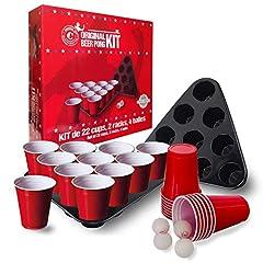 Idea Regalo - Original Cup - Set Completo di Beer Pong, 22 x Bicchieri + 2 x cornici a Triangolo per Bicchieri + 4 x Palline da Ping Pong + Regole Ufficiali di Beer Pong, Giochi Alcolici, Gioco Bevente