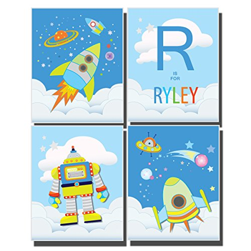 boys-bedroom-decor-outer-space-wall-art-nursery-rocket-ship-pictures-solar-system-moon-stars-planets