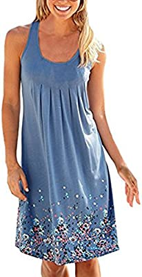 Verano Casual Vintage Vestido Sin Mangas Pin up Midi Corto Playa Etnico Vestidos Mujer