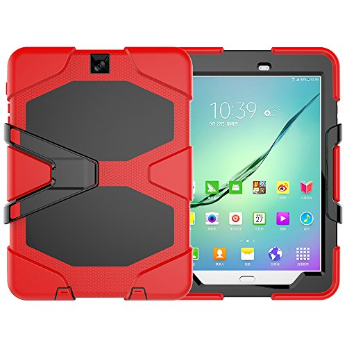 y Tab S2 9.7 LTE Hülle, Tough Rugged Shockproof Hybrid Kickstand Protection Back Cover Case mit Stand für Samsung Galaxy Tab S2 9.7 Zoll (Rot) ()