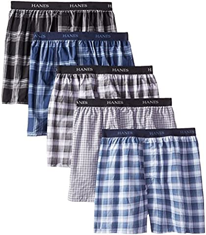 Hanes Classics Men's TAGLESS® Boxer with Comfort Flex® Waistband 5-Pack (Mens Classics Woven Boxer)