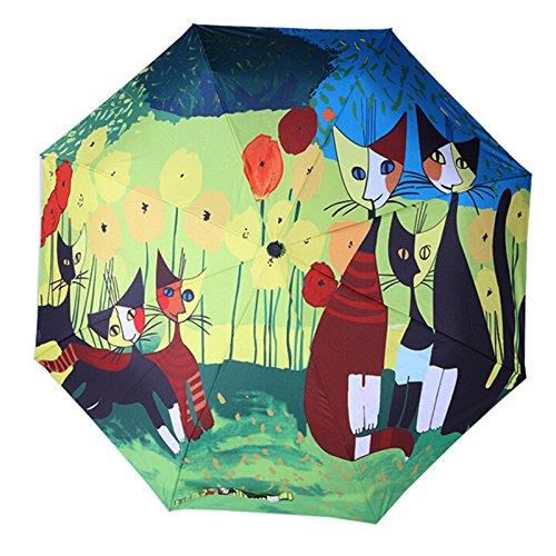 Gorei Mini Reiseschirm Tragbarer Leichter Kompakter Sonnenschirm Mit 95{0d18b253b8796c86c5739892310173c0a8b1c2485277fba796efcfb8002a36ca} UV Schutz Für Sonne Und Regen Cartoon Katzendruck