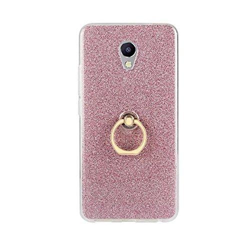 Soft Flexible TPU Back Cover Case Shockproof Schutzhülle mit Bling Glitter Sparkles und Kickstand für Meizu Meilan HINWEIS 5 ( Color : Black ) Pink