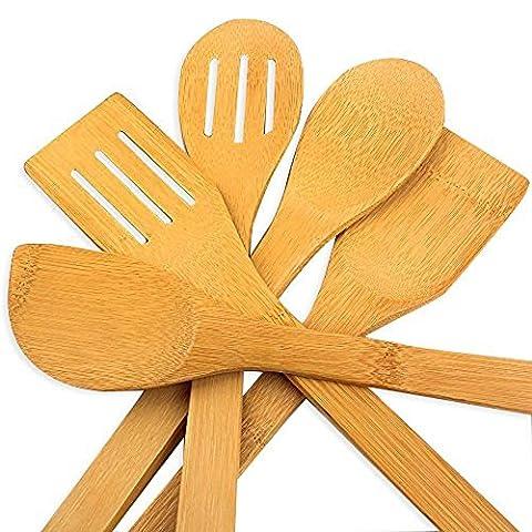 5 x Piece Bamboo Wooden Kitchen Cooking Utensils Set Tools