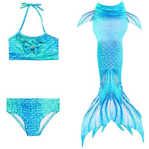 ShiyiUP THEE 3pcs Traje de Baño de Cuello Hálter con Cola de Sirena Bikini Set para Niña