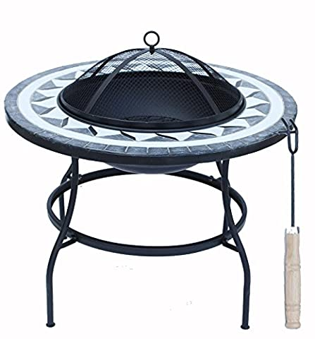 Lado Premium Round Mosaic 63cm Large Fire Pit Table Metal Legs Bowl Patio (SI-BBQ3) Garden Pit Barbecue