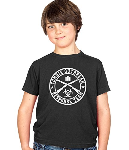 Zombie Outbreak Reponse Team Kinder T-Shirt Childs Ages 3-13 Jungen and Mädchen T-Shirt - Childrens Schwarz, Groß