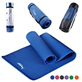 Syourself NBR Yoga Mat-183cm x 61cm x 1cm-Non Slip, Lightweight,Comfort Foam Exercise Yoga Mat-Perfect for Hot Yoga, Pilates, Fitness, Gym, Workout With Carry Strap+Mesh Bag(EDark Blue)