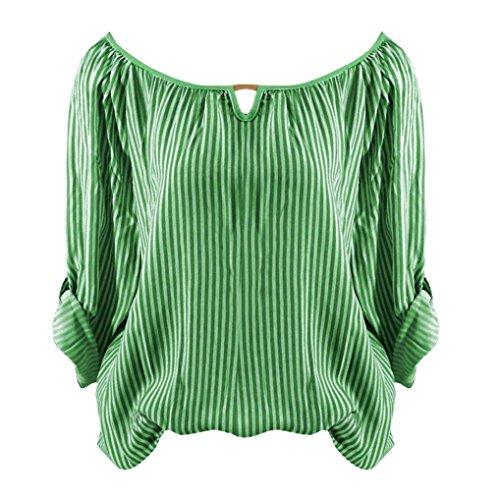 (Damen Langarm, Frashing Gestreiftes T-Shirt mit langen Ärmeln Langarmshirt für Mädchen Gestreiftes Hemd Damen Kurzarm Shirt Damen Langarm T-Shirt Rundhals, Ärmel einstellbar)