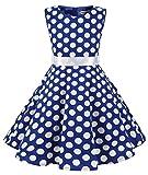 MUADRESS Girls Sleeveless O-Neck Audrey 1950s Vintage Swing Cocktial Party Dress Royalblue Big White Dot XL