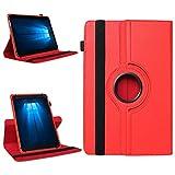 Odys Thor 10 plus 3G Robuste Universal Tablet Schutzhülle aus hochwertigem Kunstleder Hülle Tasche Standfunktion 360° Drehbar kombiniert Schutz und Design in 9 verschiedenen Farben Cover Case Universal Schutzhülle , Farben:Rot